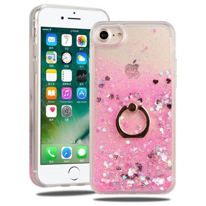 smartlegend coque iphone 7 rose bling sables mouva
