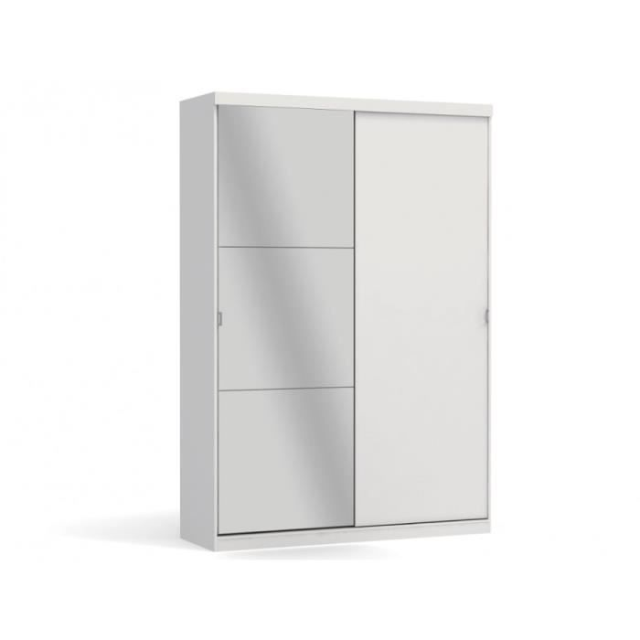 armoire einar avec miroir 2 portes blanc. Black Bedroom Furniture Sets. Home Design Ideas