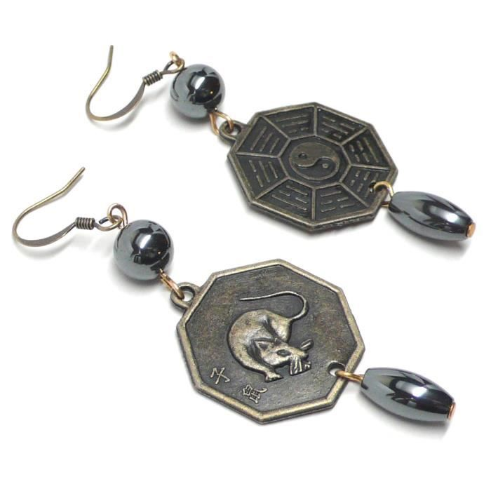 Womens Year Of The Rat I Ching Zodiac Chinese Bagua Trigram Coin Hematite Earrings KCG4B