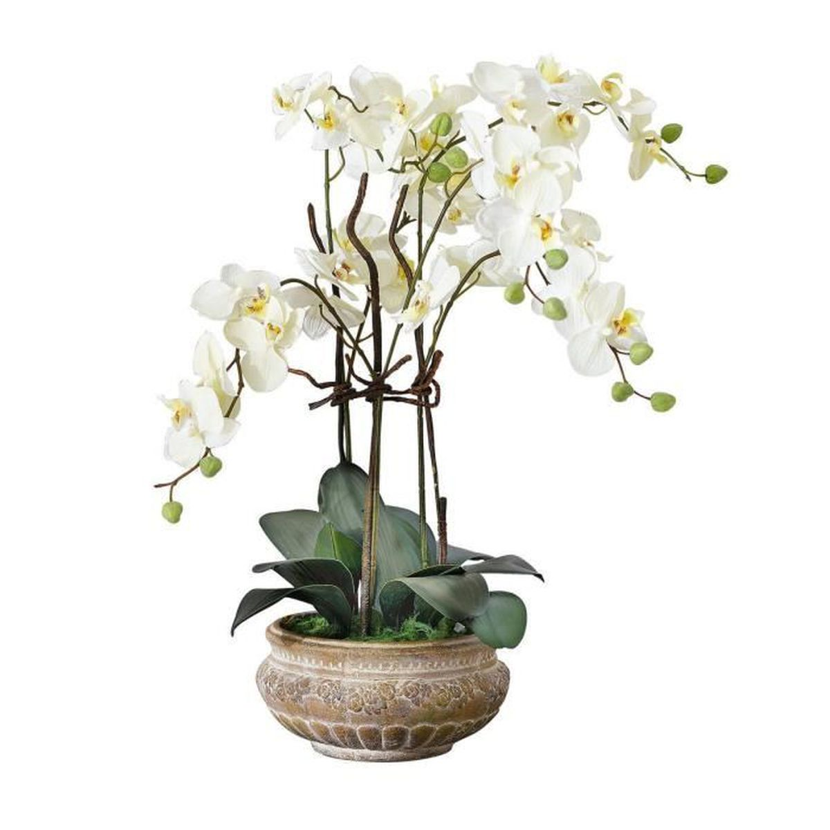 Pureday plante artificielle orchid e avec pot en c ramique brun - Plantes artificielles discount ...
