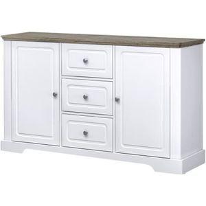 BUFFET - BAHUT  DESSY Buffet classique décor blanc mat - L 139 cm