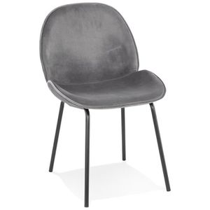 CHAISE HO - Chaise vintage en velours gris foncé et pieds