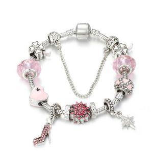 BRACELET - GOURMETTE 18 cm Bracelet Style Pandora Charm Rose Argent 925