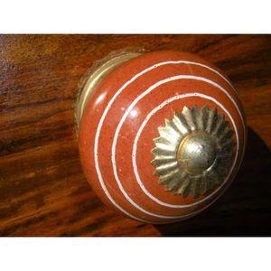 POIGNÉE - BOUTON MEUBLE Boutons en porcelaine trait blanc/marron