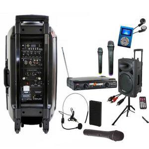 ENCEINTE ET RETOUR IBIZA PORT 15 VHF BT + PIED + CÂBLE PC + HOUSSE +