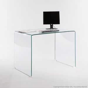 bureau en verre tremp longueur 110 cm cristal achat. Black Bedroom Furniture Sets. Home Design Ideas