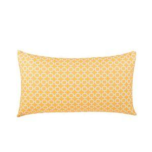 COUSSIN Coussin à motif géométrique jaune 40 x 70 cm.