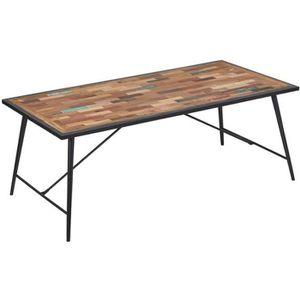 TABLE À MANGER SEULE Table à manger bois et fer - MANHATTAN - L 200 x l