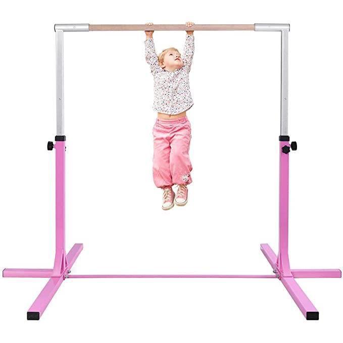 DREAMADE Barre de Gymnastique pour Enfants,Conception à Double Verrouillage,Hauteur Réglable entre 91 et 150 cm pour Chambre à Couch