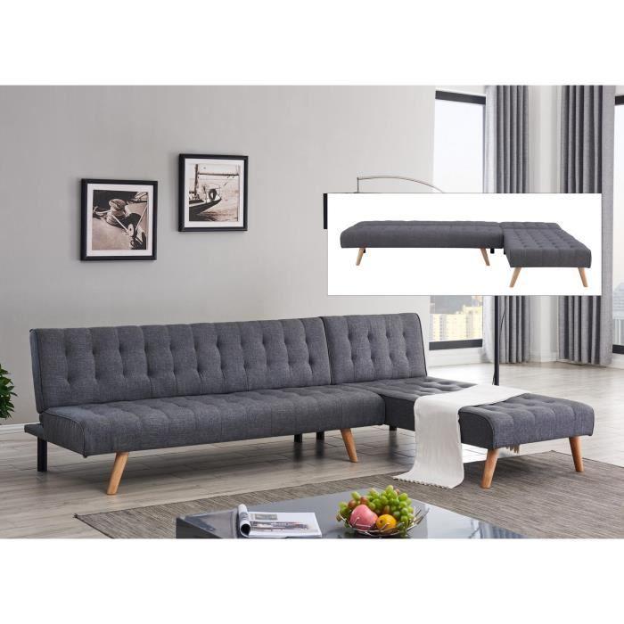 Canapé scandinave convertible modulable avec l'angle réversible en tissu gris foncé FINN