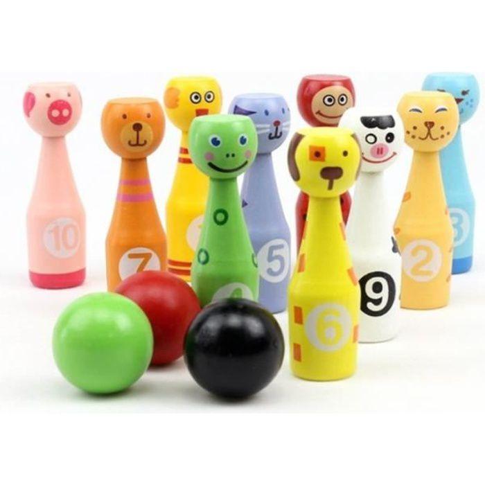 Jeux de Quilles 10 quilles et 3 Boules Bowling Set Enfant Jeux Exterieur Équipement Sportif Jeux de Jardin Plein Air