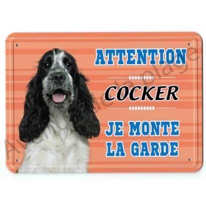 Pancarte métal Attention au chien - Cocker noir et blanc Multicolore