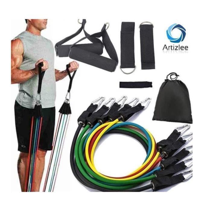 Bandes de Résistance Set Elastiques, Artizlee Kit de 11 Accessoires Musculation-Bandes de Fitness Exercice Elastiques Yoga Pilâtes