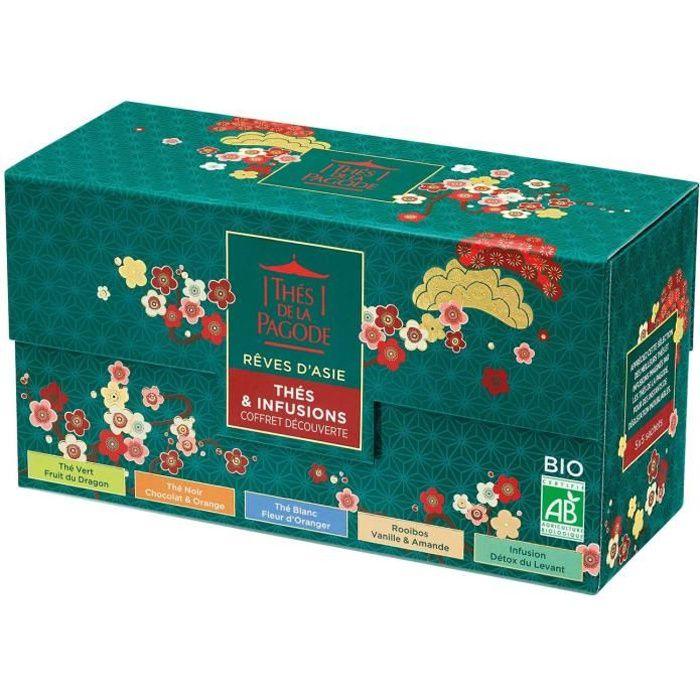 Thés de la Pagode - Coffret Découverte Rêves d'Asie - Thé Blanc Fleur d'Oranger + Thé Vert Fruit du Dragon + Thé Noir Chocolat Orang