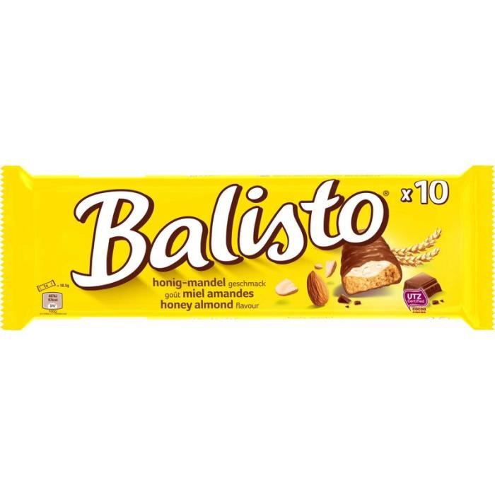 MARS WRIGLEY CONFECTIONERY FRANCE BALISTO Barres chocolatées aux céréales et crème aux amandes goût miel - 10x18,5 g