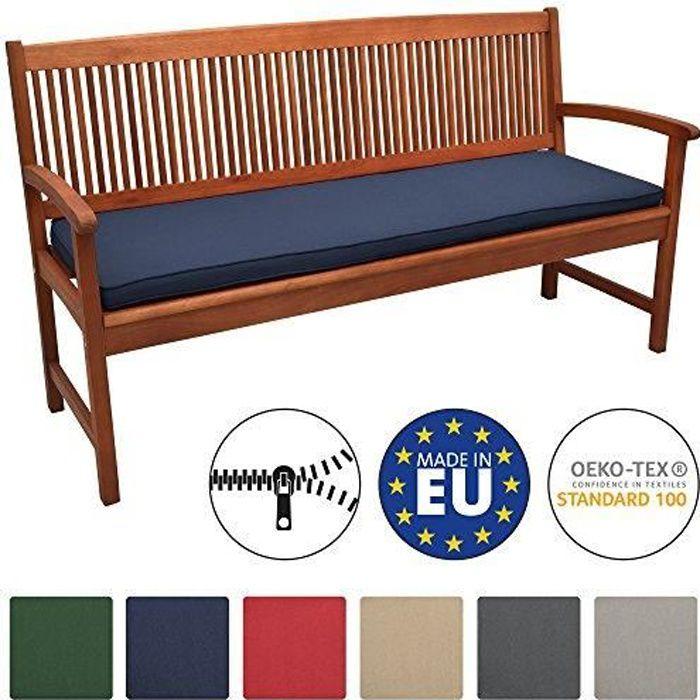 Beautissu Coussin Banc Banquette Loft BK 100x48x5 cm - Bleu foncé - Jardin Terrasse Balcon Extérieur - Haute qualité