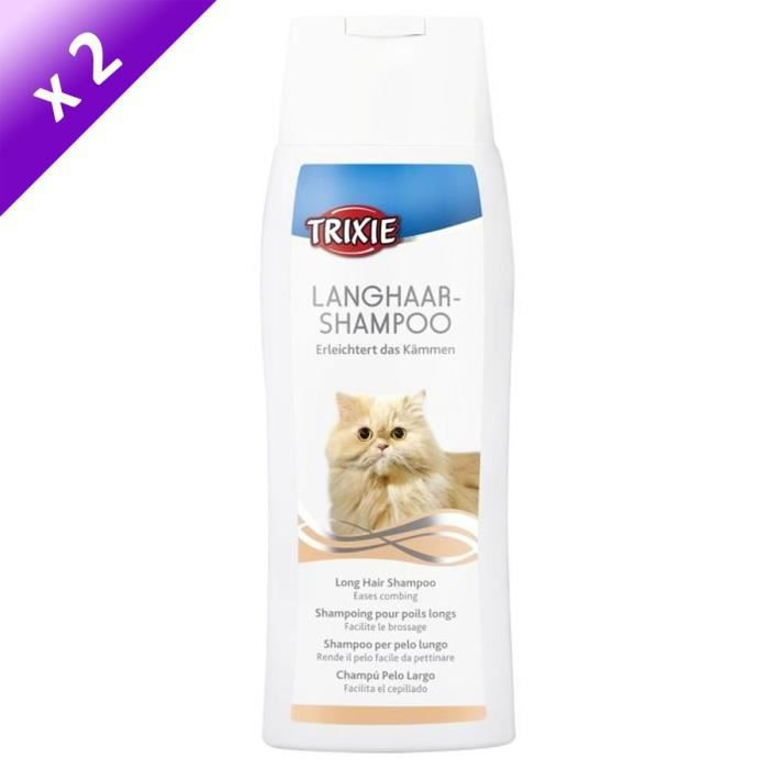 TRIXIE Lot de 2 Shampoings pour chats à poils longs 250ml