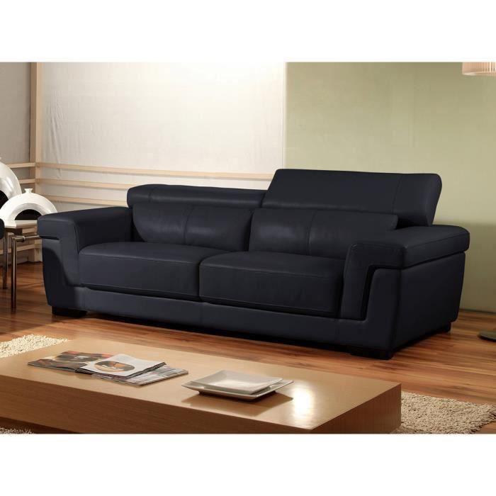 Canapé 2 places en cuir noir EVASION