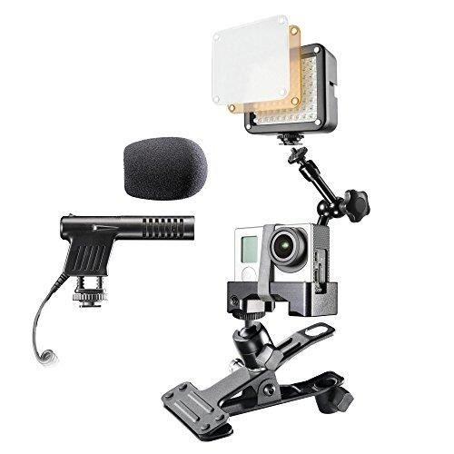 Mantona caseless Support de Bras avec Pince Micro et LED éclairage vidéo pour goPro Hero 20529
