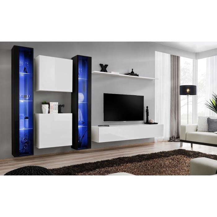 Ensemble meuble salon mural SWITCH XVI design, coloris blanc et noir brillant. 40 Blanc