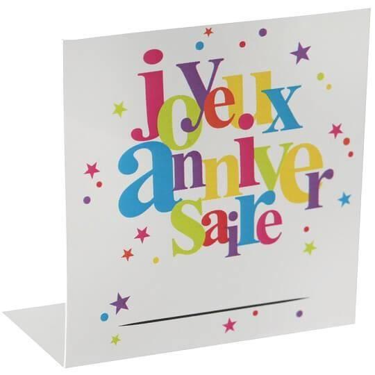 Marque-place joyeux anniversaire festif multicolore (x10) R/5189