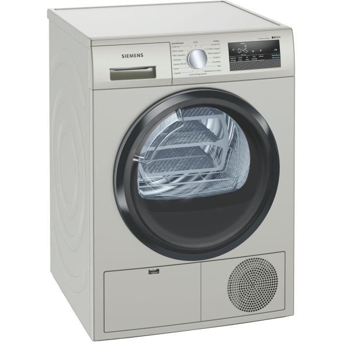 Sèche-linge pompe à chaleur SIEMENS WT45HVX0FF - 8 kg - Moteur induction - Argent/Inox