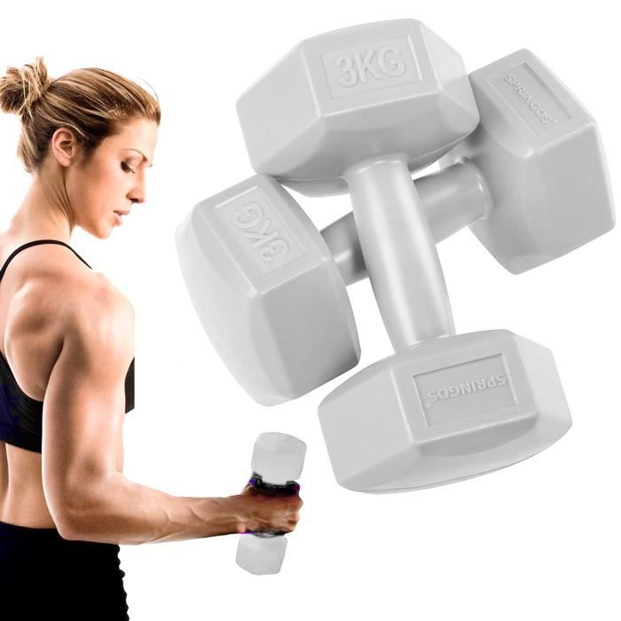 SPRINGOS® Haltères 2x 3 kg Hexagon Dumbbells Entraînement de force pour la gymnastique et le fitness