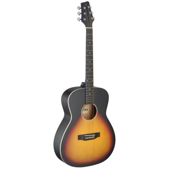 Guitare auditorium avec table en tilleul, sunburst, modèle gaucher