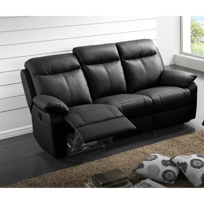 Canapé Relax électrique 3 places Cuir Noir - VYCTOIRE - L 201 x l 95 x H 101 cm