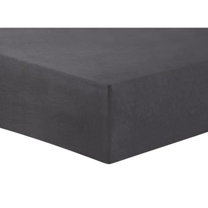 VISION Drap housse Flanelle - 200 x 200 cm - Gris anthracite