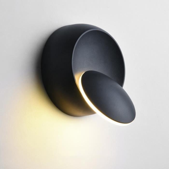 Applique Murale Led à Led, Lampe De Chevet Réglable Avec Rotation à 360 Degrés, Blanc, Noir Créative Noire Moderne Et Rond - 249959