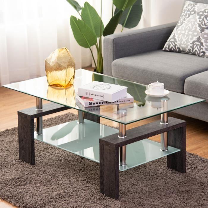 Table Basse En Verre Et Bois Table De Salon Table Basse Scandinaves 2 Couleur Au Choix 100 60 45cm Noir