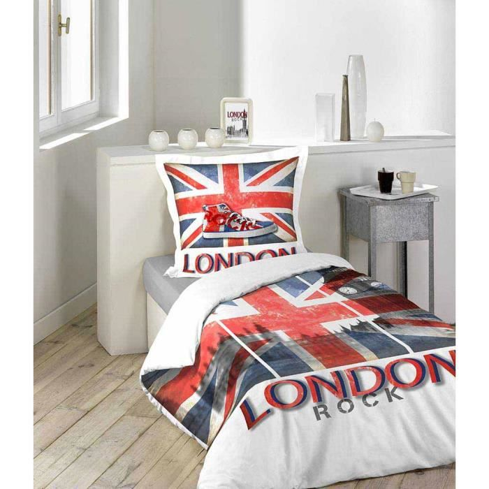 Housse de couette 140x200 100 coton vintage london rock for Housse de couette london 1 personne