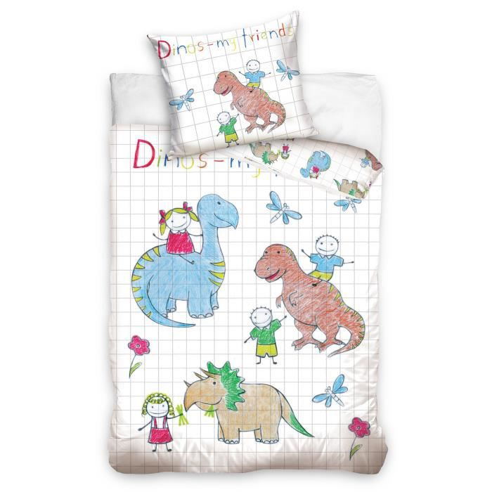 parure de lit dinosaure coloriage lit 1 personne coton. Black Bedroom Furniture Sets. Home Design Ideas
