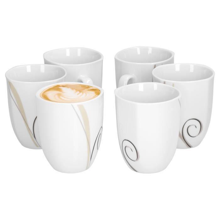 Van Well set de 6 tasses à café Theresa single, jumbo cup, 300 ml, 85 x 85  mm, porcelaine d'hôtel, grande tasse à café, tasse en - Cdiscount MaisonCdiscount