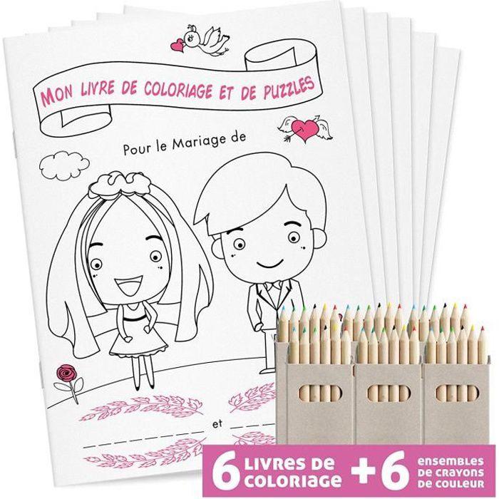 Livre De Coloriage De Mariage Pour Enfants 6 Livres A Colorier 6 Crayons De Couleur Cadeau Mariage Achat Vente Livre De Coloriage Livre De Coloriage De Mariage Cdiscount