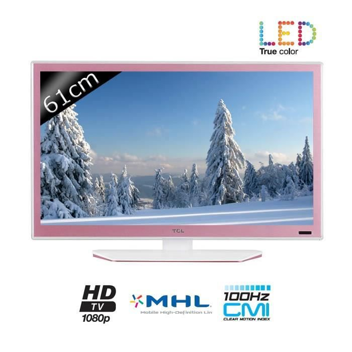 tcl tv l24e4153f full hd 1080p 61cm 24 pouces led 1 hdmi classe a rose. Black Bedroom Furniture Sets. Home Design Ideas