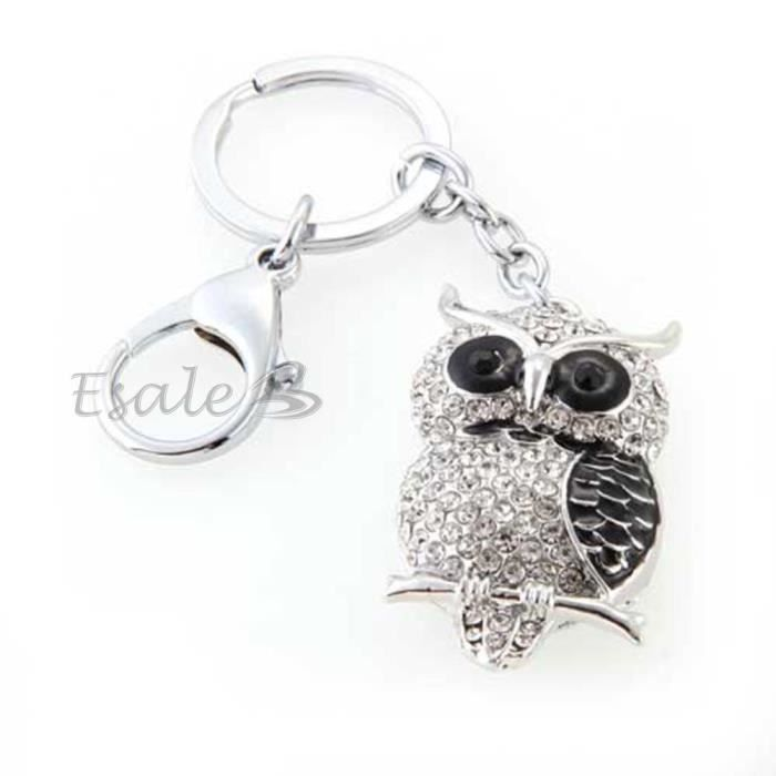 porte cl hibou pendentif m tal strass couleur argent 58x32mm achat vente porte cl s. Black Bedroom Furniture Sets. Home Design Ideas