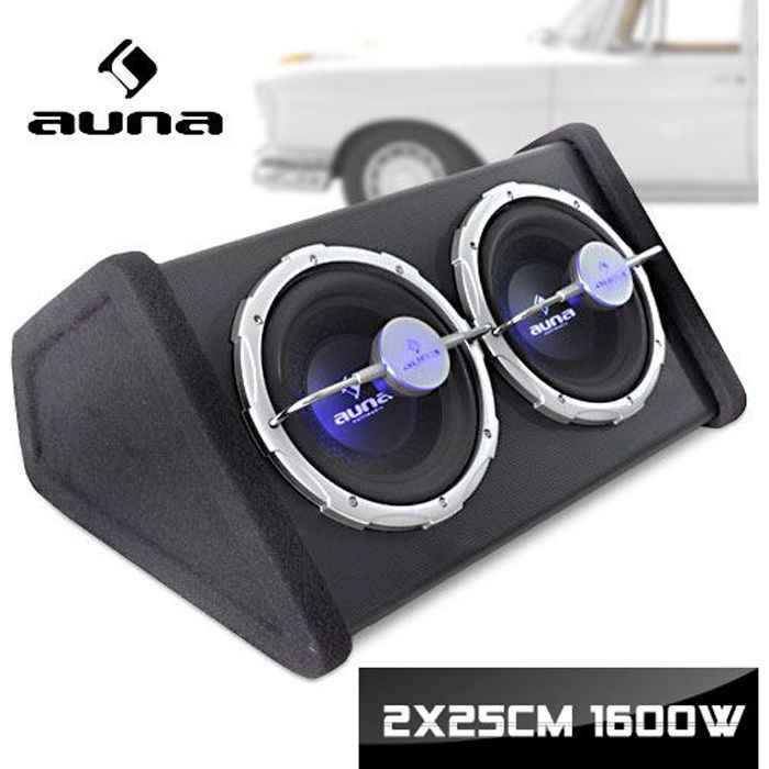 auna double caisson de basses pour voiture subwoofer auto double 2x25cm 10 led bleu. Black Bedroom Furniture Sets. Home Design Ideas