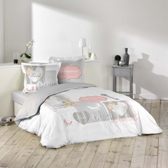 housse de couette 240x260 ma romance 2 taies 100 coton gris rose blanc achat vente. Black Bedroom Furniture Sets. Home Design Ideas