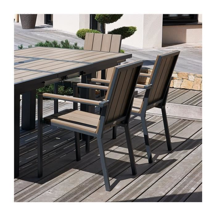 salon de jardin table rallonge papillon 6 fauteuils aluminium et composite achat vente. Black Bedroom Furniture Sets. Home Design Ideas