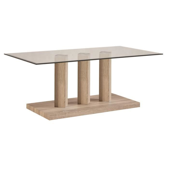 Table basse contemporaine rectangulaire bois verre guylaine achat v - Table basse bois contemporaine ...