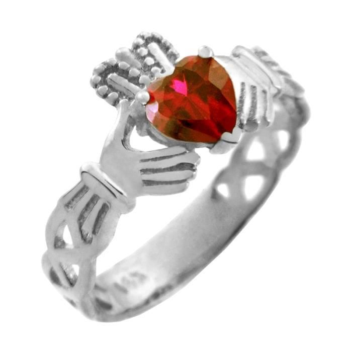 Bague Femme Alliance 10 ct Or Blanc 471/1000 Claddagh TrinitéAvec Rubis RougeOxyde de Zirconium Cœur