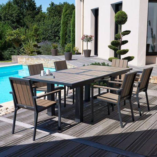 Salon de jardin - Table rallonge papillon + 6 fauteuils ...