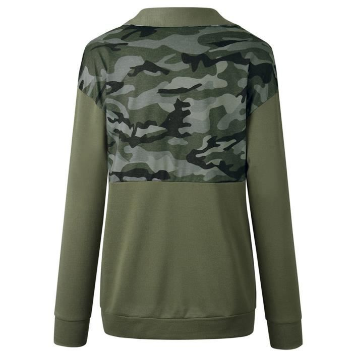 Longues Pull Zippé Vert Femmes Manches À Col Printed Anonywe Camouflage Sweat RCxXnq