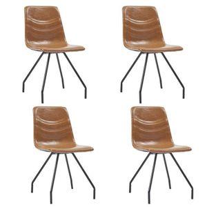 CHAISE Belle tech Chaises de salle à manger 4 pcs Cognac