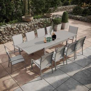 Table de jardin extensible aluminium 135-270cm + 10 ...