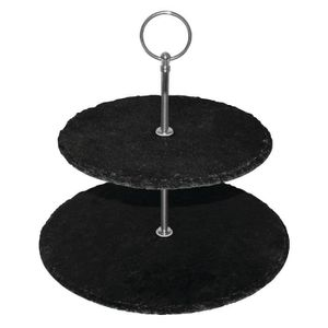 PIÈCE APPAREIL FROID  Olympia 2 Tier Slate Afternoon Tea stand