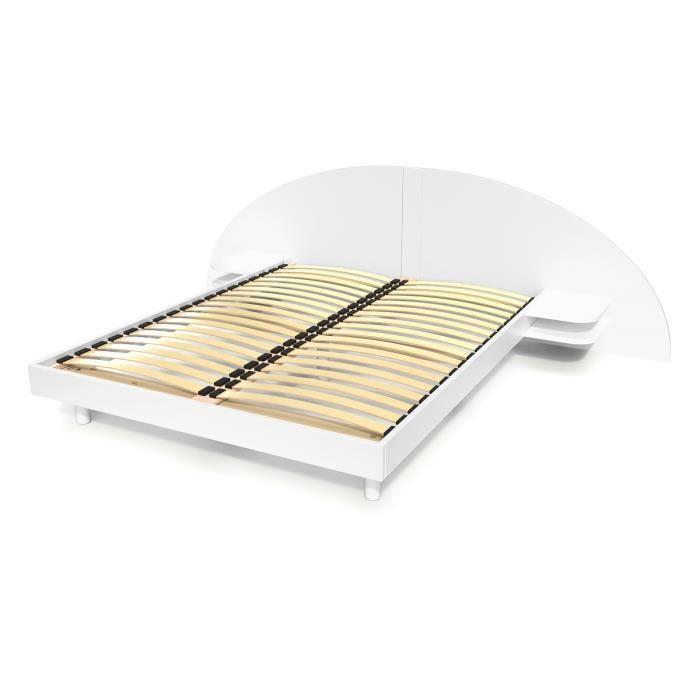 Lit adulte ARC bois avec tête et chevets intégrés (Blanc - 160x200)