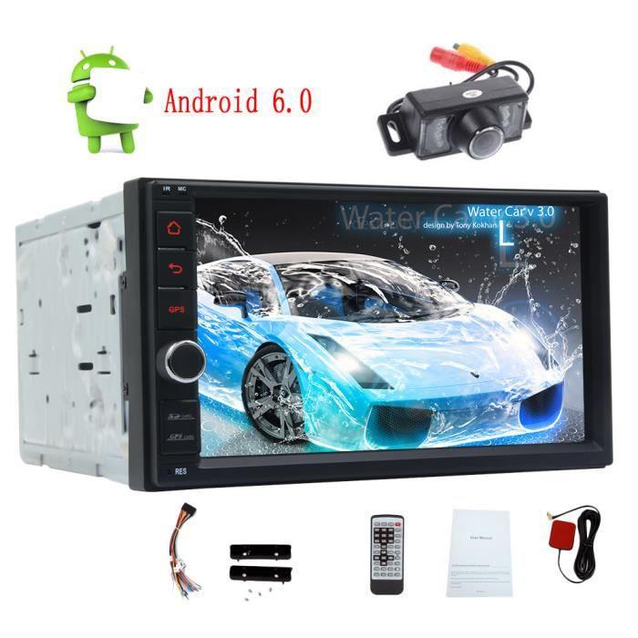 Autoradio 7inch stéréo GPS Android 6.0 Système Autoradio Bluetooth 4.0 Quad Core Navigation GPS Dash Double din Multi-Touch Screen